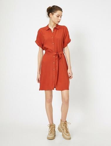 Koton Beli Baglamali Elbise Kırmızı